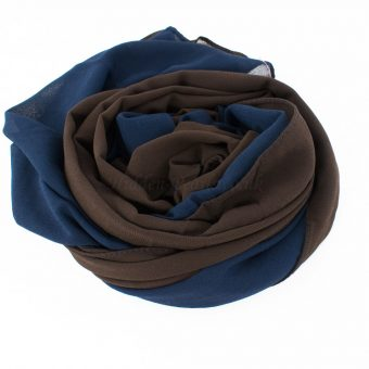Fusion Chiffon Scarf Midnight blue & chocolate 4