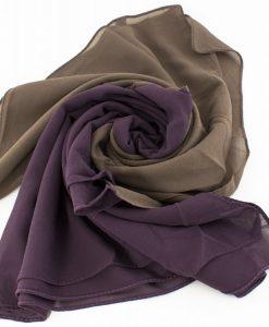 Fusion Chiffon Scarf Purple & Hazlenut 2