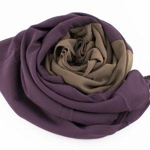 Fusion Chiffon Scarf Purple & Hazlenut 3