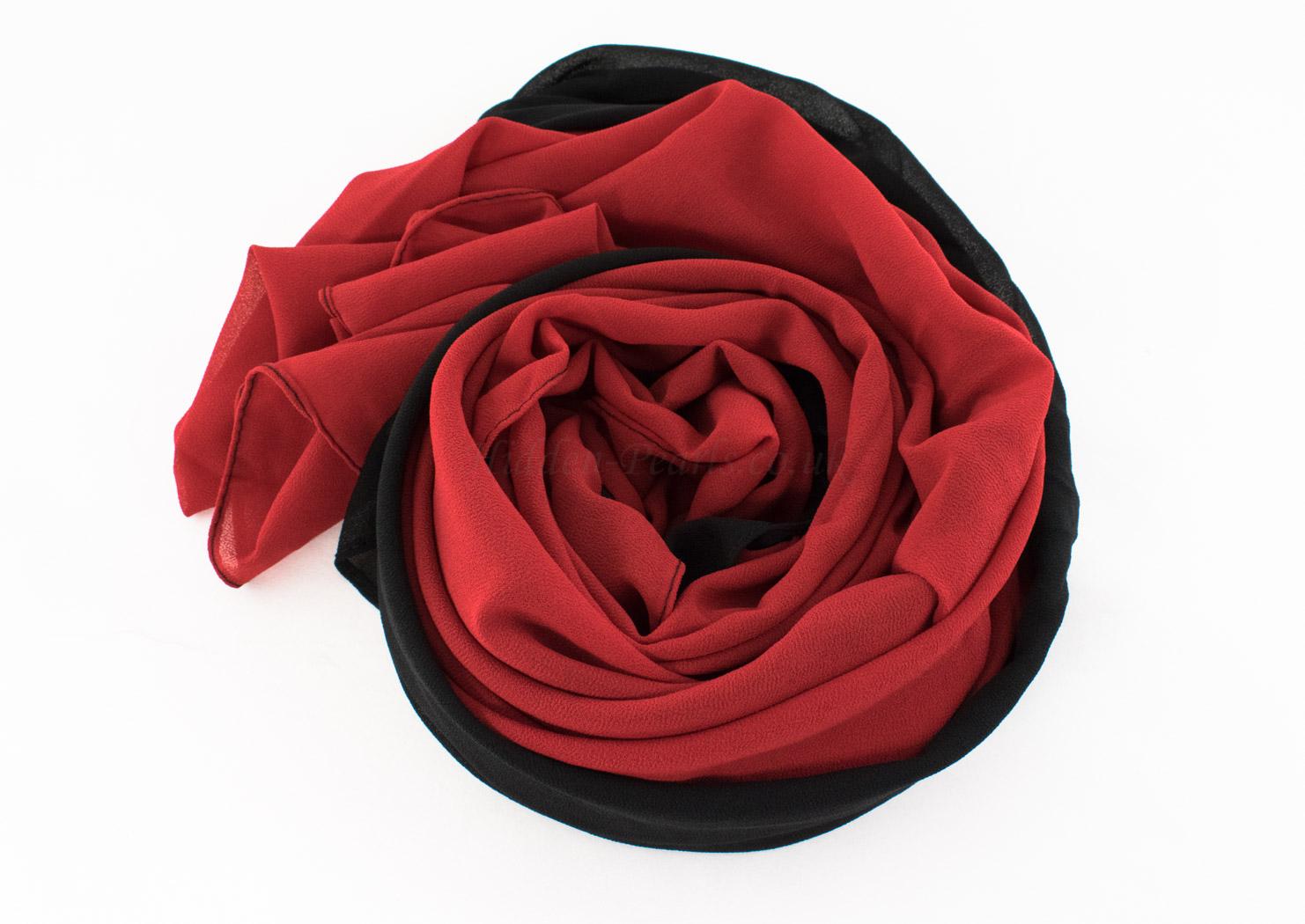 Fusion Chiffon Scarf Red & Black 66