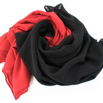 Fusion Chiffon Scarf Red & Black 7