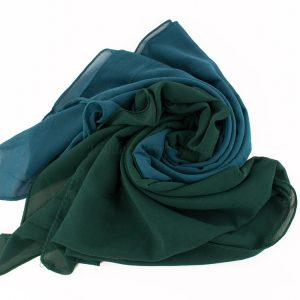 Fusion Chiffon Scarf Teal & forest green 2