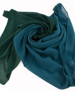 Fusion Chiffon Scarf Teal & forest green 3