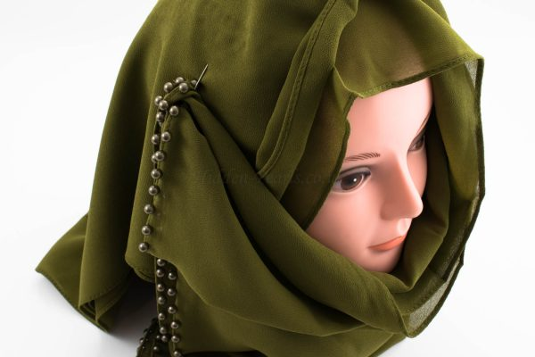 Limited Edition Pearl Chiffon Hijab- Army Green 2 - Hidden Pearls