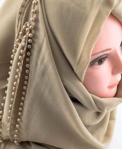 Limited Edition Pearl Chiffon Hijab- Beige 2 - Hidden Pearls