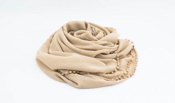 Limited Edition Pearl Chiffon Hijab- Beige - Hidden Pearls