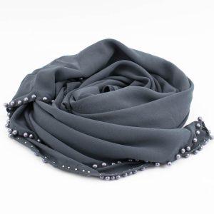 Limited Edition Pearl Chiffon Hijab- Dark Grey - Hidden Pearls