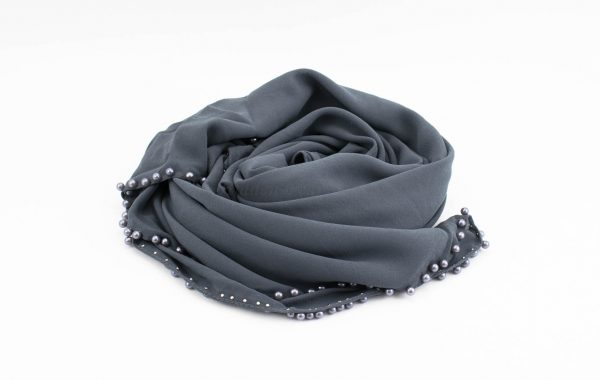 Limited Edition Pearl Chiffon Hijab- Dark Grey - Hidden Pearls
