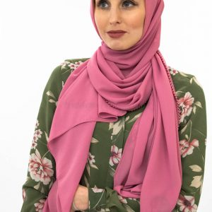 Limited Edition Pearl Chiffon Hijab - Dusty Rose - Hidden Pearls