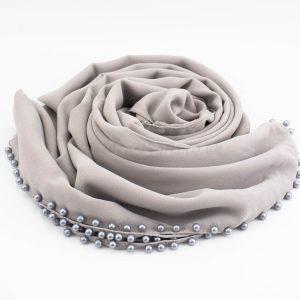 Limited Edition Pearl Chiffon Hijab- Light Grey 2 - Hidden Pearls