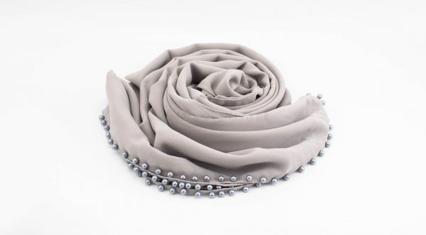 Limited Edition Pearl Chiffon Hijab- Light Grey 2 - Hidden Pearls
