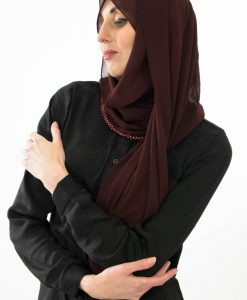 Limited Edition Pearl Chiffon Hijab - Rosewood - Hidden Pearls 2