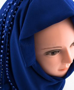 Limited Edition Pearl Chiffon Hijab- Royal Blue 2 - Hidden Pearls