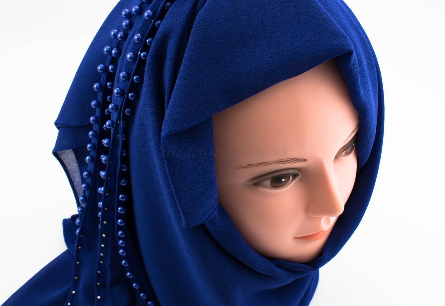 Limited Edition Pearl Chiffon Hijab- Royal Blue 2 - Hidden Pearls