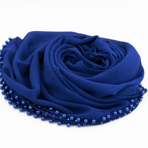 Limited Edition Pearl Chiffon Hijab- Royal Blue - Hidden Pearls
