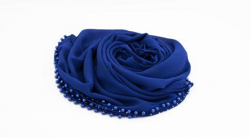 Limited Edition Pearl Chiffon Hijab- Royal Blue - Hidden Pearls