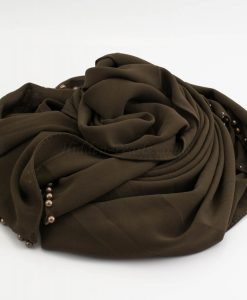 Limited Edition Pearl Chiffon Hijab- Taupe Brown - Hidden Pearls