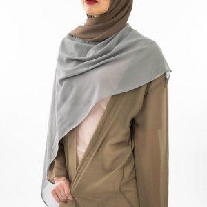 Two Tone Chiffon Hijab - Grey & Taupe Brown- Hidden Pearls 2