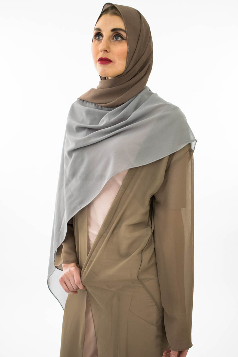 Two Tone Chiffon Hijab - Grey & Taupe Brown- Hidden Pearls 2