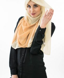 Two Toned Chiffon Hijab - Cream & Golden Brown- Hidden Pearls