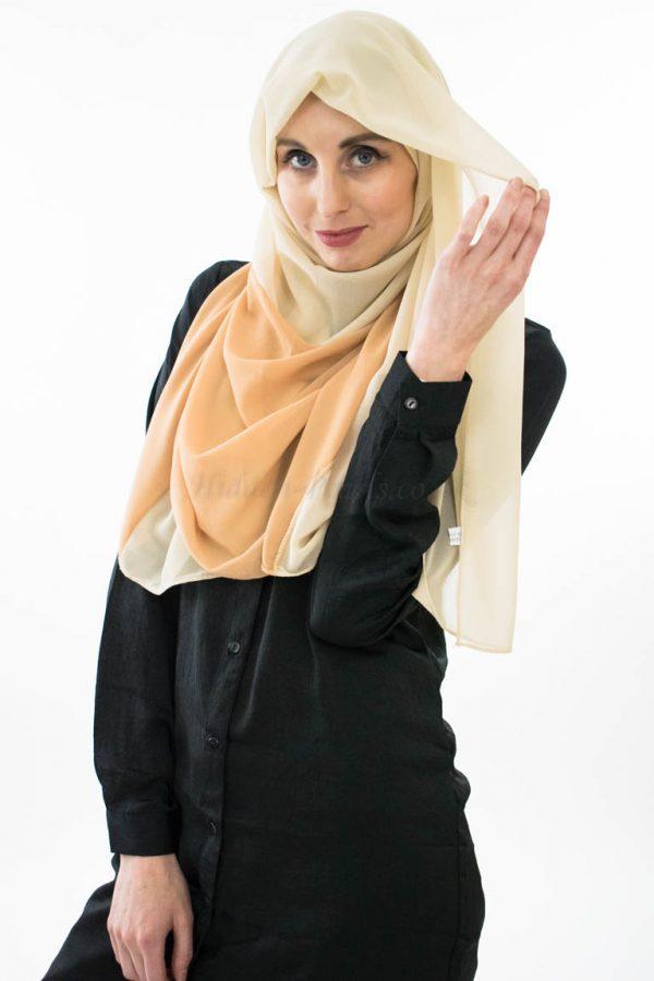 Two Toned Chiffon Hijab - Cream & Golden Brown- Hidden Pearls