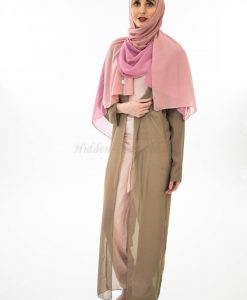 Two Toned Chiffon Hijab - Spanish Pink & Dusty Pink- Hidden Pearls