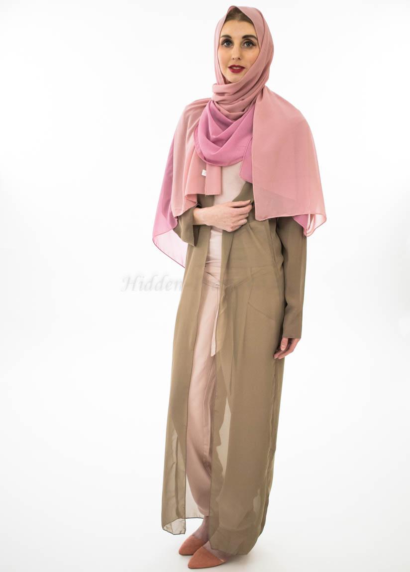 Two Toned Chiffon Hijab - Spanish Pink & Dusty Pink- Hidden Pearls