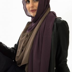 wo Toned Chiffon Hijab - Spanish Purple & Hazlenut- Hidden Pearls 2