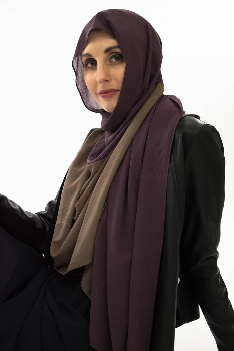 wo Toned Chiffon Hijab - Spanish Purple & Hazlenut- Hidden Pearls 2
