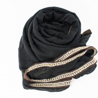 Zirconia & Pearl Hijab Black 4