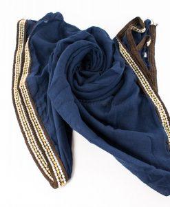Zirconia & Pearl Hijab Navy Blue 2