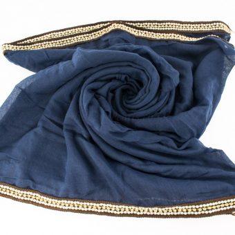 Zirconia & Pearl Hijab Navy Blue 3