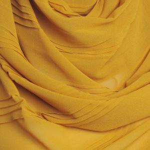 Mustard Chiffon Hijab Hidden Pearls