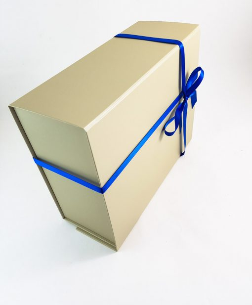 Large Ivory Islamic Gift Box Packaging with Royal Blue Ribbon - Islamic Gifts