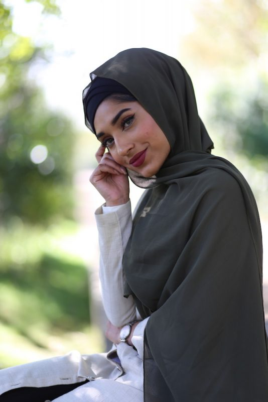 Chiffon Hijab - Army Green - Hidden Pearls