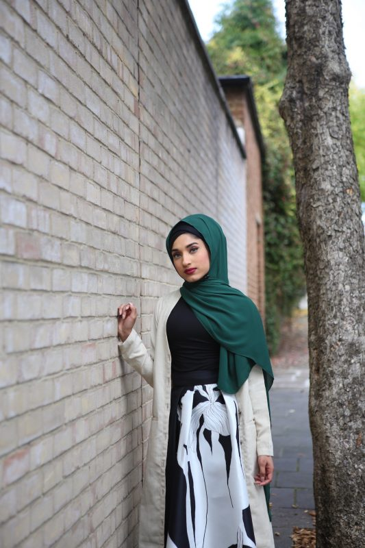 Chiffon Hijab - Forest Green - Hidden Pearls