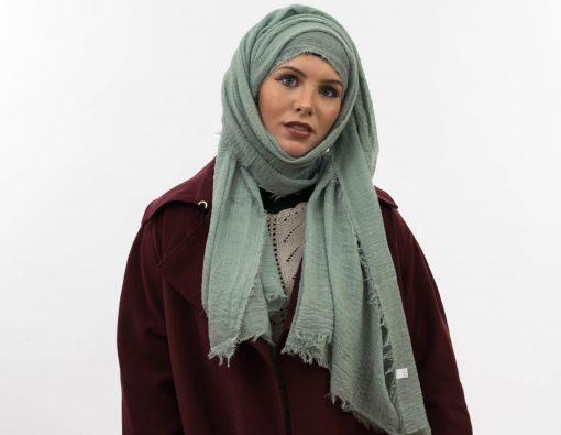 Crimp Hijab - Mint 2 - Hidden Pearls