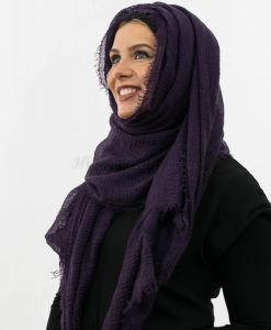 Crimp Hijab- Plum - Aubergine 4 - Hidden Pearls