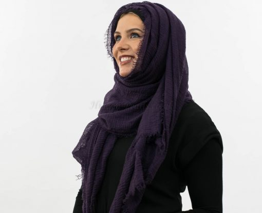 Crimp Hijab- Plum - Aubergine 4 - Hidden Pearls
