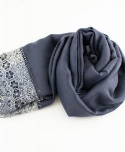 Crochet Lace Hijab Dark grey 3