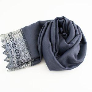 Crochet Lace Hijab Dark grey 3