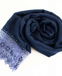 Crochet Lace Hijab Navy Blue 2
