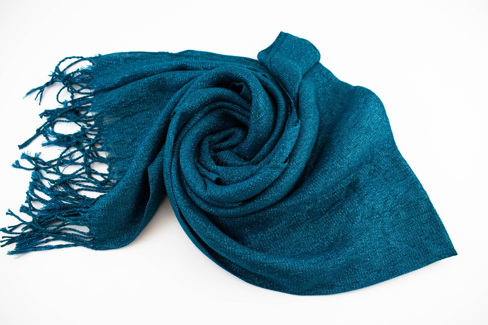 Shimmer Hijab Teal Blue