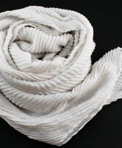 Glitter Crinkle Hijab White