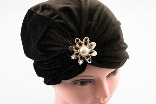 Velvet Brooch Turban - Chocolate - Hidden Pearls
