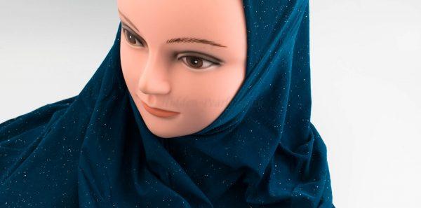 Women's Subtle Shimmer Al-Amira Hijab - Teal - Hidden Pearls