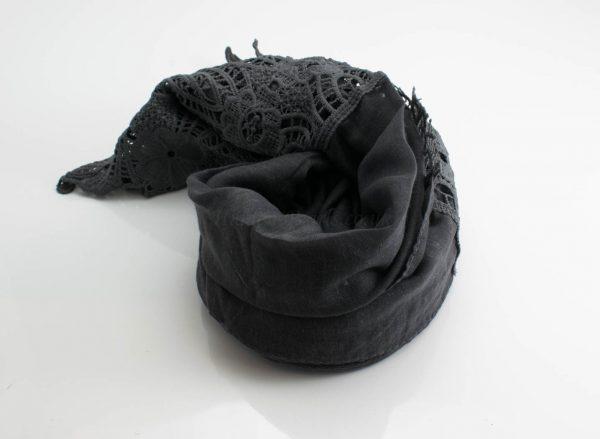 Antique Lace Hijab Dark Grey 2