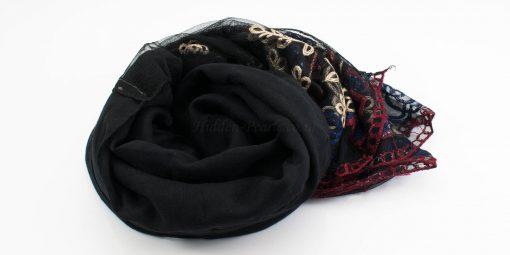 Black Vintage Lace Hijab - Black - Hidden Pearls