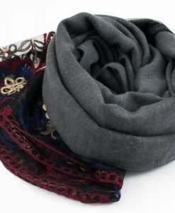 Black Vintage Lace Hijab - Charcoal - Hidden Pearls