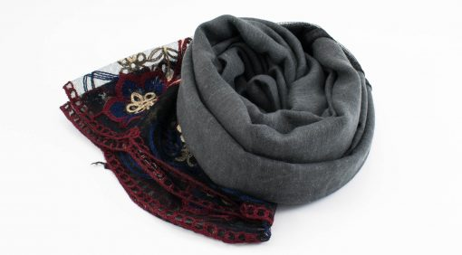 Black Vintage Lace Hijab - Charcoal - Hidden Pearls